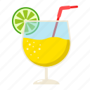 alcohol, cocktail, drink, glass, lime, liquid, tropical icon