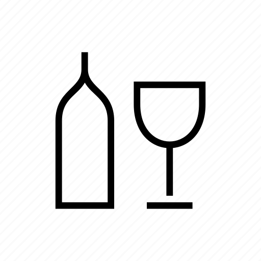 and, bottle, drinks, glass, wine icon