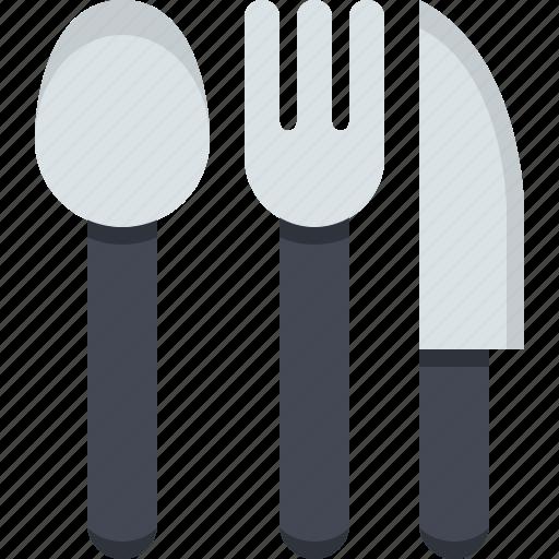 cuttlery, fork, kitchen, kitchen cuttlery, knife, restaurant, spoon icon