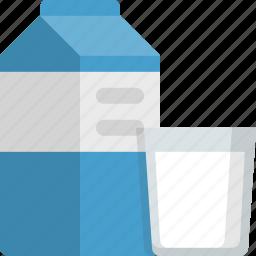 breakfast, diary, drink, glass, kitchen, milk, milk product icon