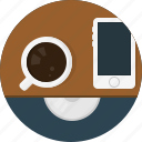 cap, coffee, phone icon