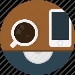 cap, coffee, phone icon