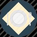 fork, knife, napkin, plate