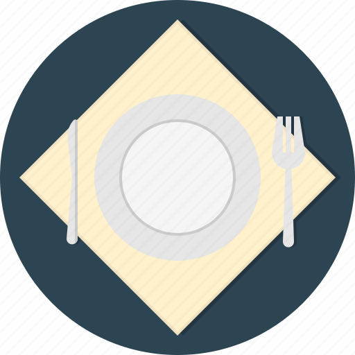 fork, knife, napkin, plate icon