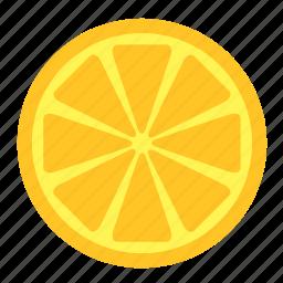 food, fruit, half, lemon, slice, yellow icon