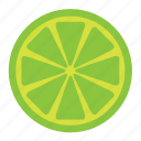 citrus, food, fruit, green, half, lemon, lime icon