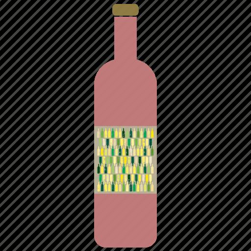 beverage, bottle, drink, red, wine icon
