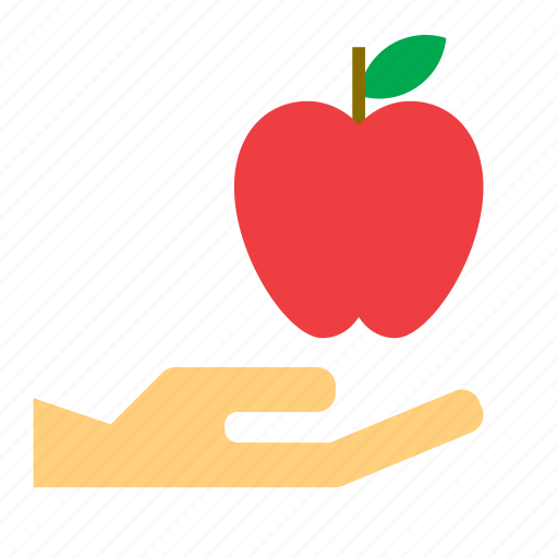 apple, food, fruit, give, hand icon