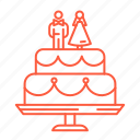 bride, cake, dessert, groom, sweets, wedding, wedding cake icon