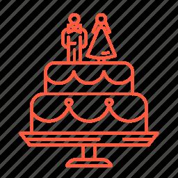 bride, cake, dessert, groom, sweets, wedding, wedding cake icon