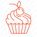 baking, cherry, cookie, cream, cupcake, dessert, sweets icon