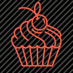 baking, cherry, cookie, cream, cupcake, dessert, sweets icon
