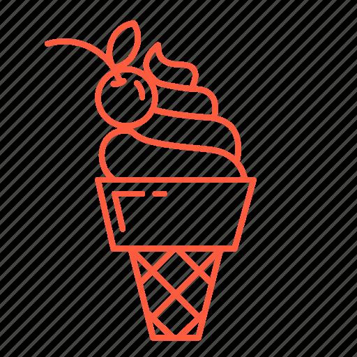 cherry, cream, dessert, icecream, sweets, waffle icon