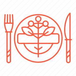 cafe, cutlery, fork, knife, plate, restaurant, table setting icon