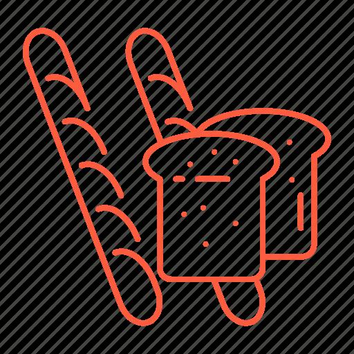 baguette, bread, breakfast, cafe, food, lunch, restaurant icon