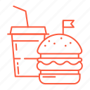 burger, drink, fastfood, food, junk food, restaurant, soda icon