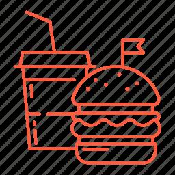 burger, drink, fastfood, food, junk food, restaurant, soda icon