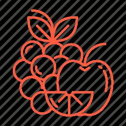 apple, food, fruit, grapes, lemon, peach icon