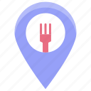 food place, map pin, restaurant location, restaurant near me, takeaway location