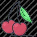 stone fruit, healthy food, food, fruit, cherry icon