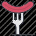 barbecue fork, barbecue sausage, bbq, hotdog, sausage