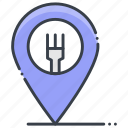food place, map pin, restaurant location, restaurant near me, takeaway location icon