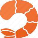 cooked, decapoda, headless, prawn, seafood, shellfish, shrimp icon