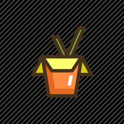 box, noodles, takeaway noodles, wok icon