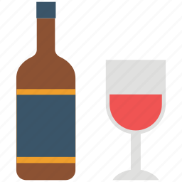 alcohol, alcoholic drink, beverage, bottle, drink, glass, wine icon