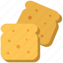 bakery food, bread, bread slices, breakfast, toast icon