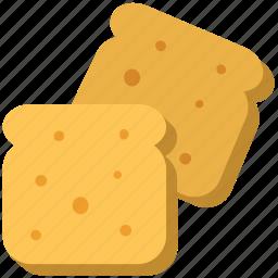 bakery food, bread, bread slices, breakfast, toast icon
