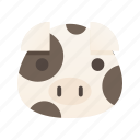 animal, farm, food, pet, pig, pork, white icon