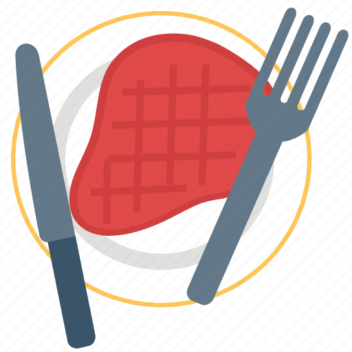 beef, chop, cuisine, fork, grill food, knife, steak icon