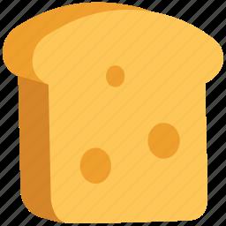 bakery food, bread slice, breakfast, food, spongecake, toast icon