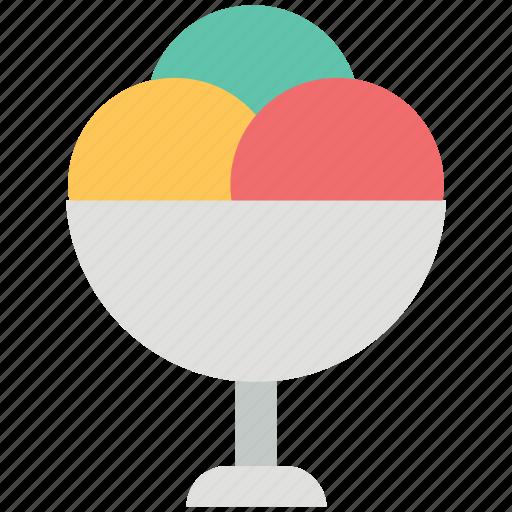 creamy, dairy, dessert, food, glass, ice cream, scoop icon