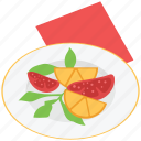 eating, food, fruits, fruits platter, meal, plate icon