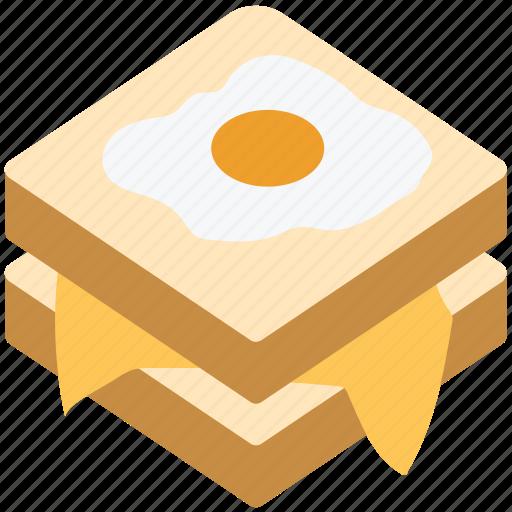 bread, breakfast, eating, egg, food, sandwich icon