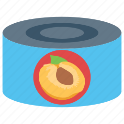 apricot, canned fruit, canned peach, peach, peach jam icon