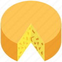 bakery food, cake, cheese wheel, dessert, spongecake icon