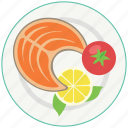 eating, fish, food, healthy, lemon, meal, tomato icon