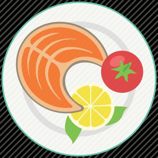 eating, fish, food, healthy, lemon, meal, tomato icon