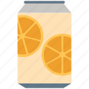 beverage, can, drink, lemon, orange juice, soda, tin icon