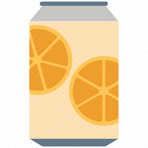 beverage, can, drink, lemon, orange juice, soda, tin icon