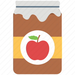 apple jam, apple preserved, container, jar, marmalade icon