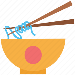 bowl, chinese food, chopsticks, food, japanese food, meal, noodles icon