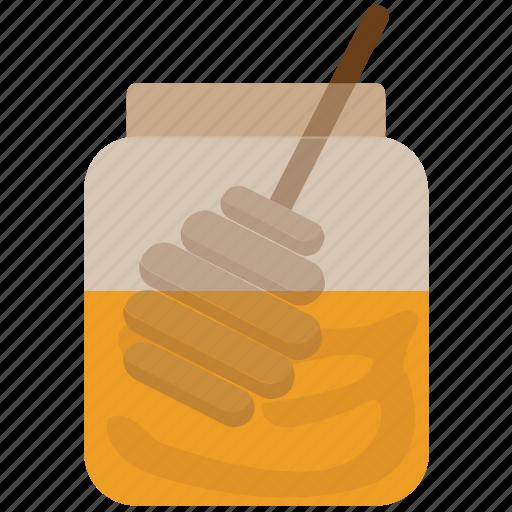 food, healthy food, honey, honey dipper, jar icon