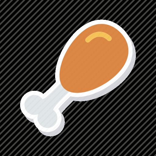 chicken, eat, legpiece, meat icon