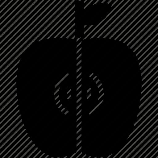 apple, food, fruit, glyph, piece of apple icon