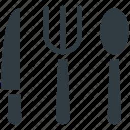 flatware, fork, knife, spoon, utensil icon