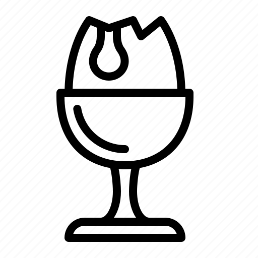 boiled, cracked, cup, egg, ios, runny icon